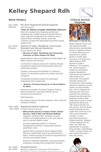 Dental Hygienist Resume samples - VisualCV resume samples database