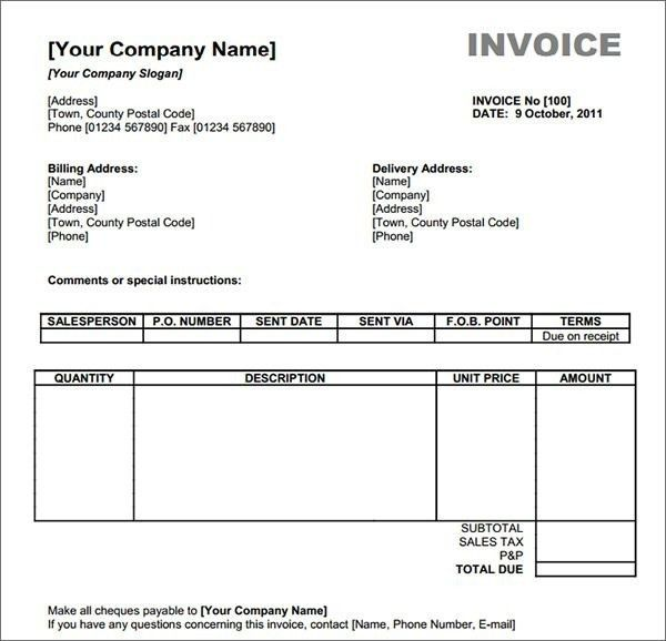 Free Invoice Online Form - Best Resume Collection
