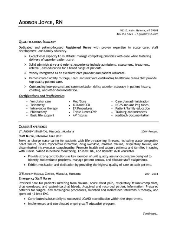 Nice Career Experience and Qualifications of Nursing Resume ...