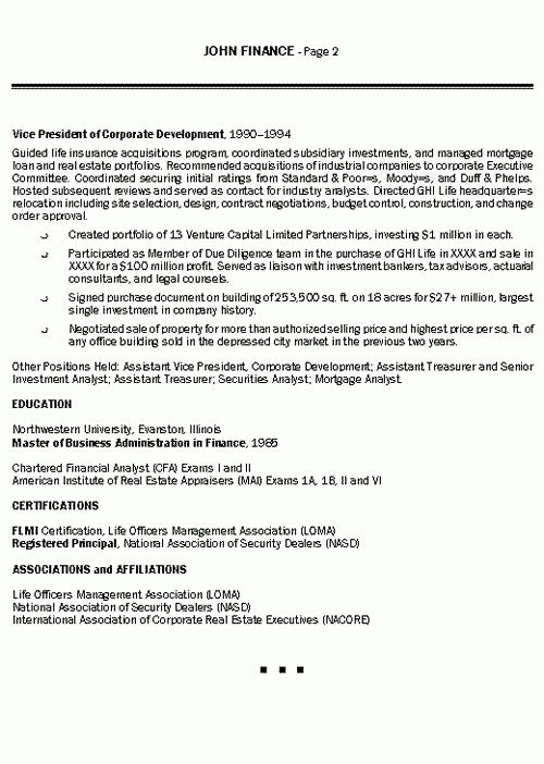 Insurance Executive Resume Example