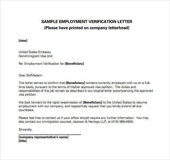 Employment Verification Letter Template Word | Template Idea