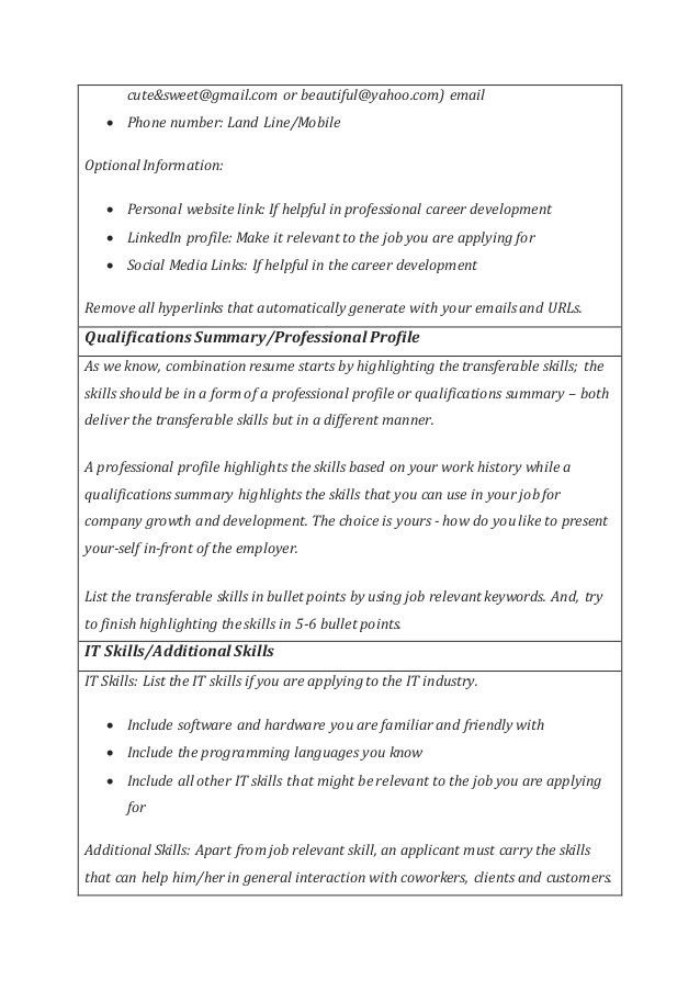 Combination Resume Templates & Cover letter