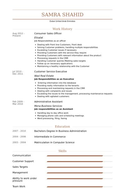 Sales Officer Resume samples - VisualCV resume samples database