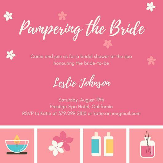 Spa Icons Bridal Shower Invitation - Templates by Canva