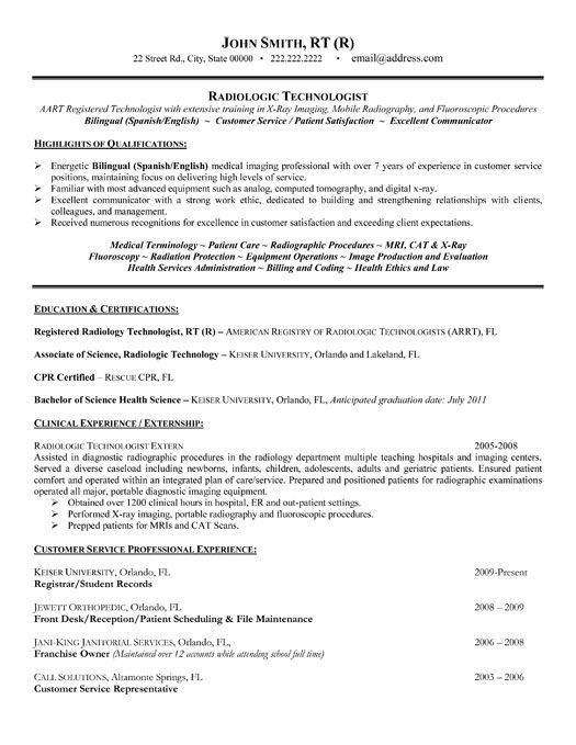 Click Here to Download this Radiologic Technologist Resume ...