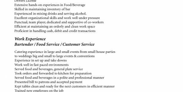 Resume Examples For Servers Bartenders Bar Server Resume Sample ...