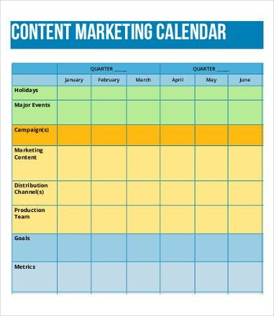 8+ Content Calendar Templates – Free Sample, Example Format ...