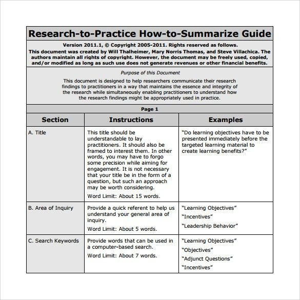 Article summary template word