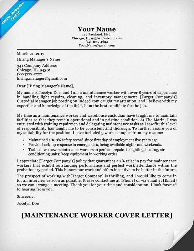 Maintenance Worker Cover Letter Sample | Resume Companion