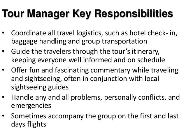 Tour Guide Resume Job Description Tour Manager Job Description