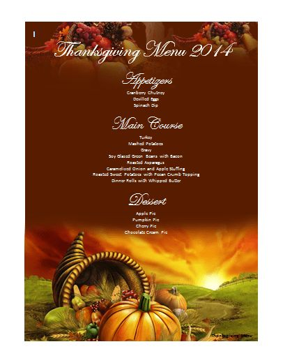 Thanksgiving Menu Template | Microsoft Word Templates