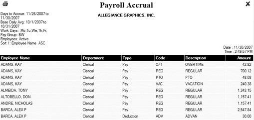Payroll Accrual Report