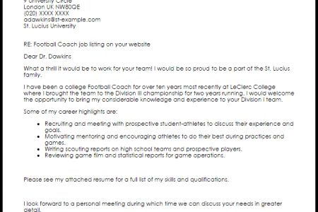 Cover letter high school football coach