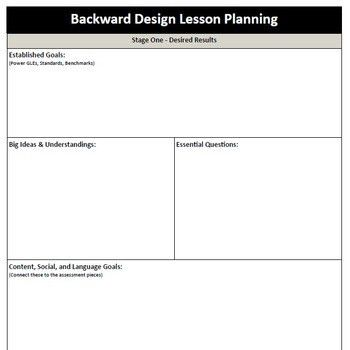 Backward Design - Lesson Plan Template | Lesson plan templates and ...