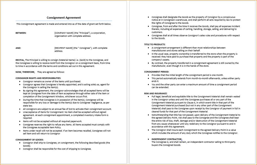 6+ consignment agreement template | Outline Templates