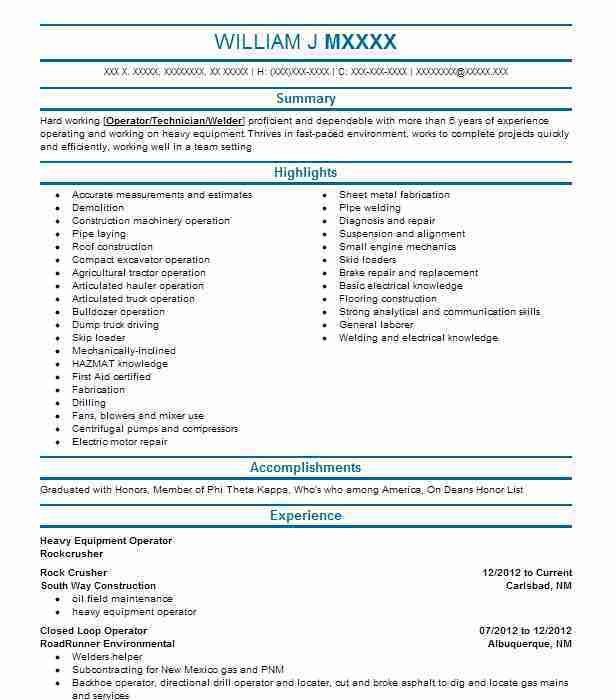 Best Heavy Equipment Operator Resume Example | LiveCareer