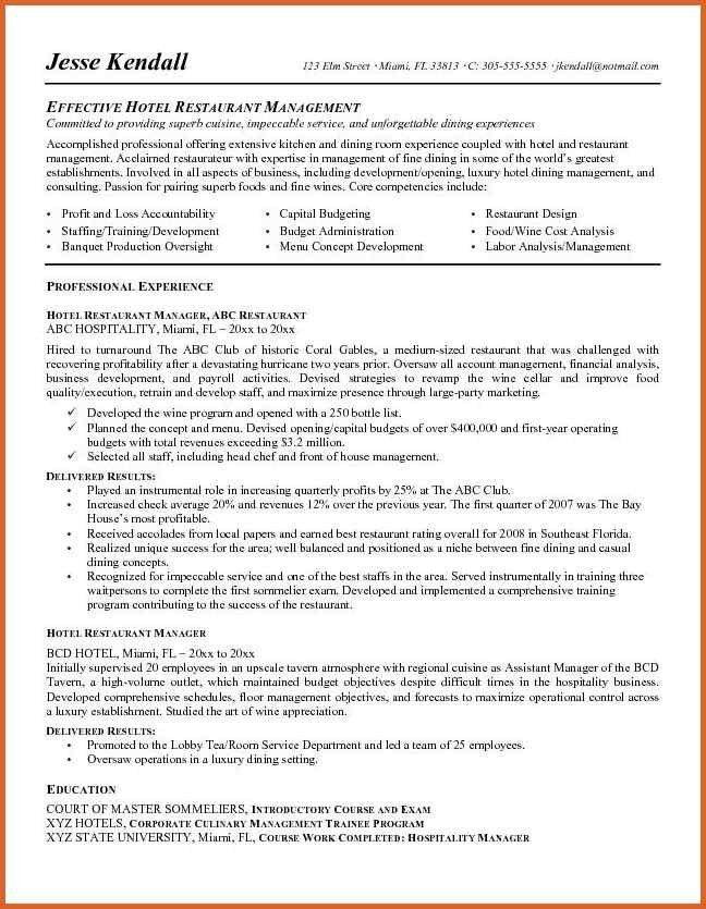 restaurant manager resume | resume name