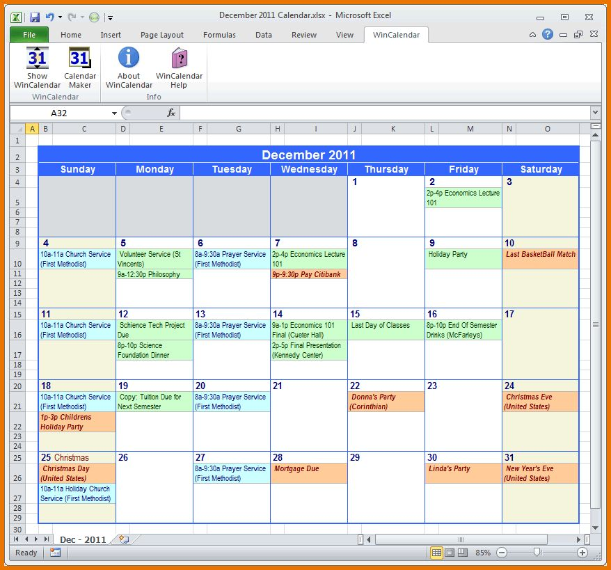 Microsoft Excel Calendar Template.Excel Calendar.png | Scope Of ...