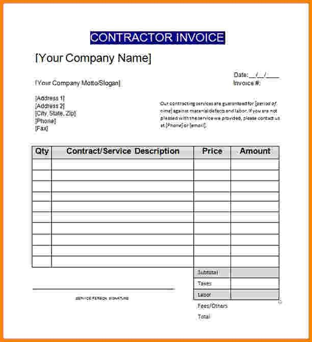 6+ contract labor invoice template | Short paid invoice