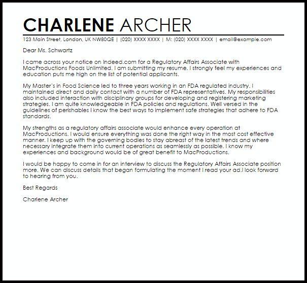 Regulatory Affairs Associate Cover Letter Sample | LiveCareer