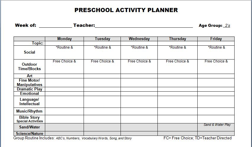 Preschool Lesson Plan Template - vnzgames