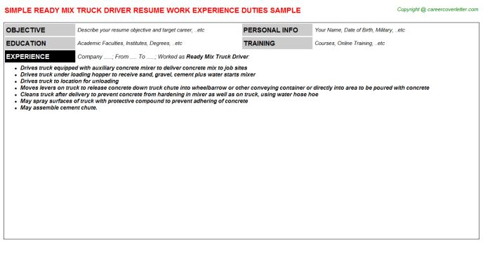 Ready Mix Truck Driver Resume Sample