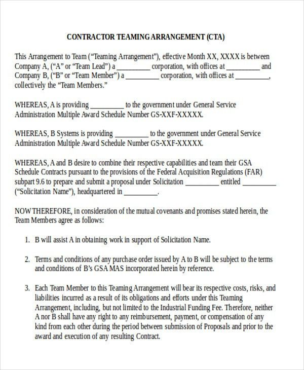 teaming agreement modal sample document. employment contract early ...