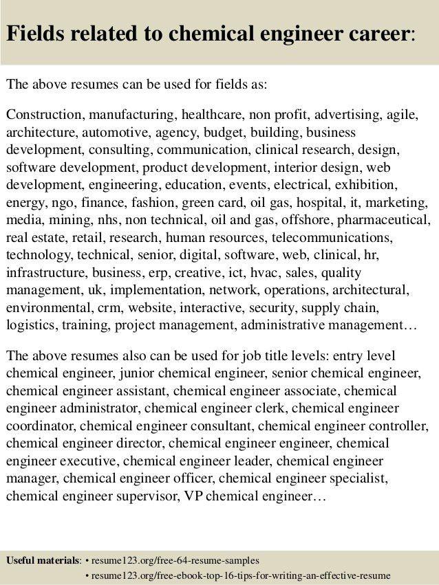 Top 8 chemical engineer resume samples