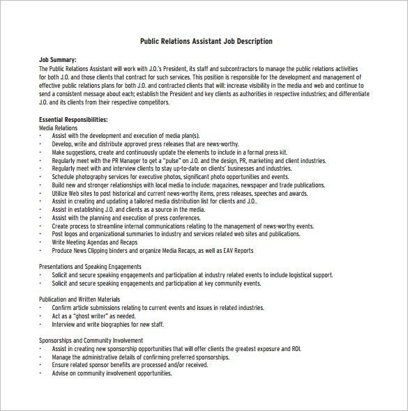 Public Relation Job Description Template – 8+ Free Word, PDF ...