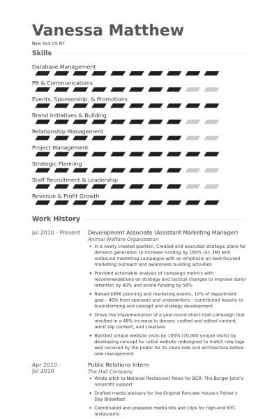 Assistant Marketing Manager Resume samples - VisualCV resume ...