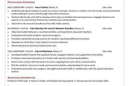 federal resume cover letter paraprofessional tutor sample resume ...