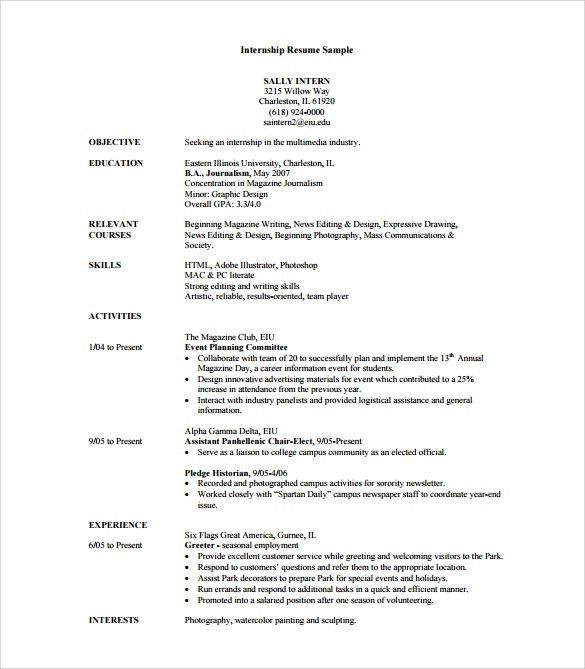 Download Resume For An Internship | haadyaooverbayresort.com