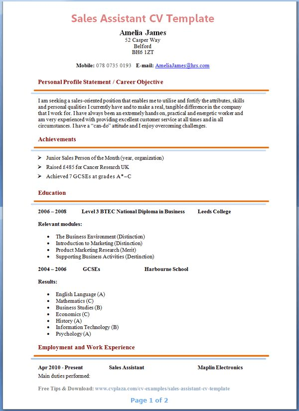 Sales Assistant CV Template + Tips and Download – CV Plaza