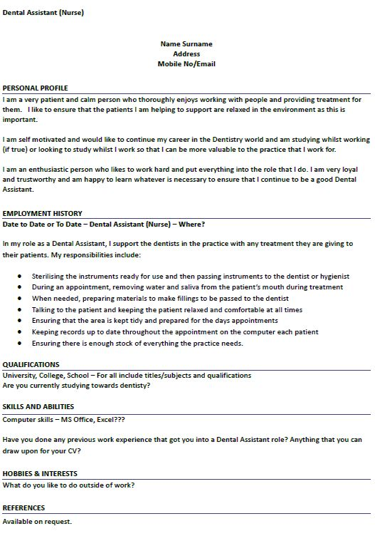 CV Example for Dental Nurse Job Applications - lettercv.com