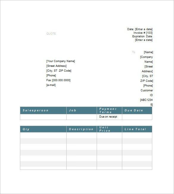 Price Quote Template – 10+ Free Word, Excel, PDF Format Download ...
