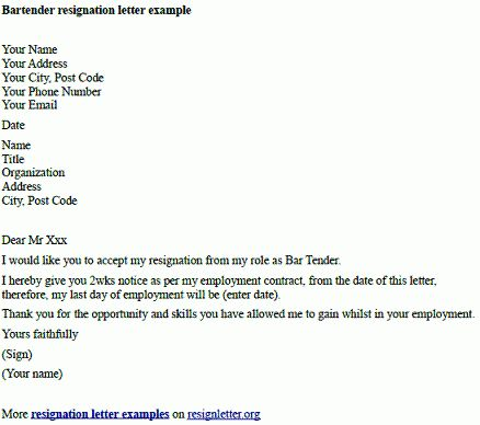 Bartender Resignation Letter Example - Resignation Letter Examples