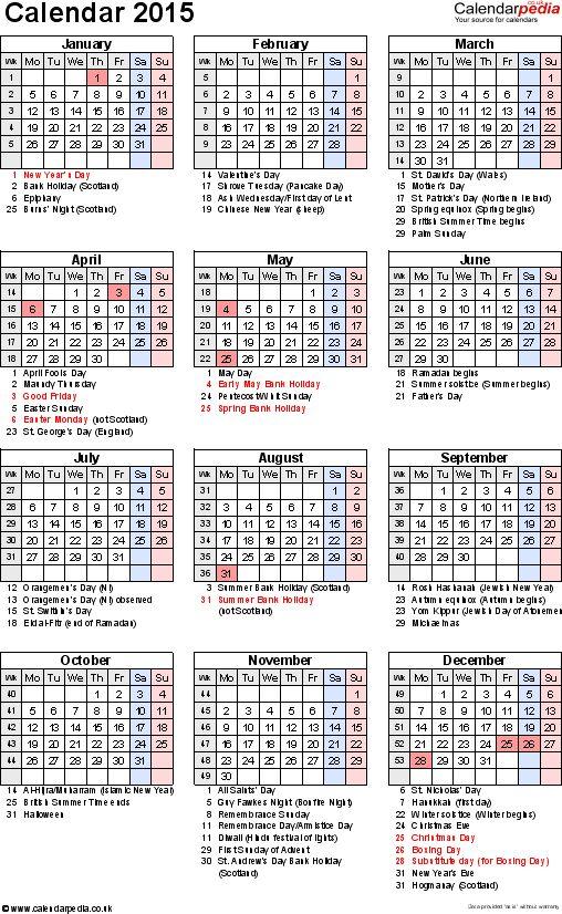 Excel Calendar 2015 (UK): 16 printable templates (xls/xlsx, free)