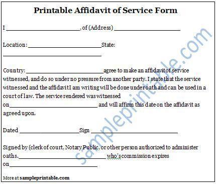 Affidavit of Service Form, Printable Affidavit of Service Form ...