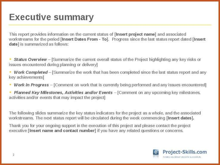 Example Executive Summary Report [Template.billybullock.us ]