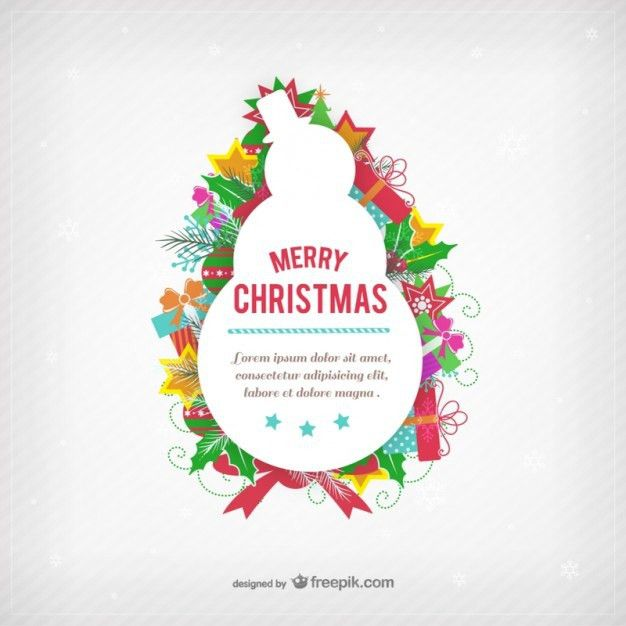 Christmas card template with snowman silhouette Vector | Free Download