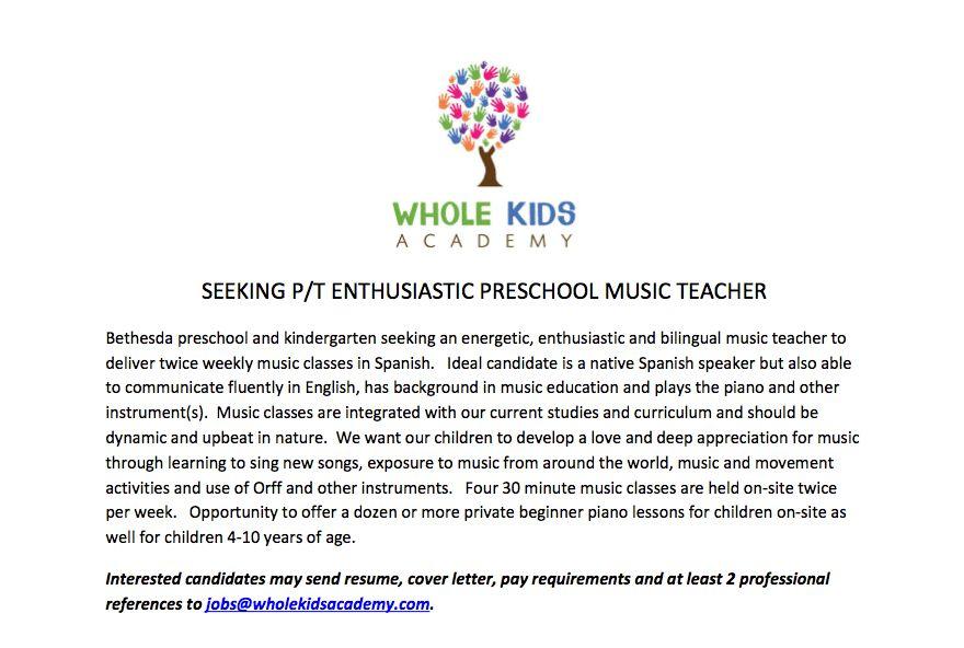 Application letter music teacher