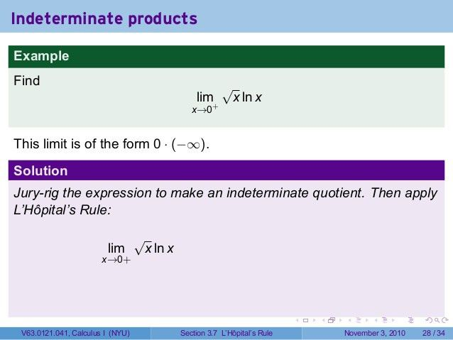 Lesson 17: Indeterminate Forms and L'Hopital's Rule (Section 041 slid…