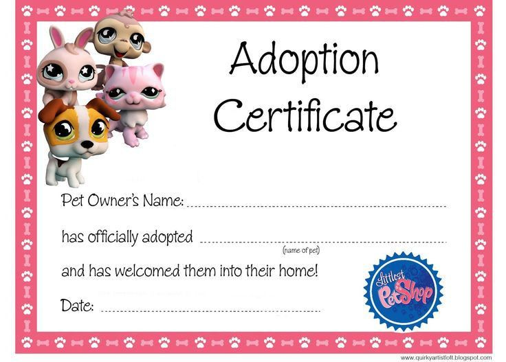 Adoption Certificate Template. Quirky Artist Loft: Littlest Pet ...