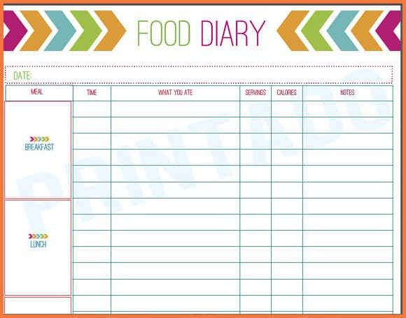 food diary printable | bio letter sample