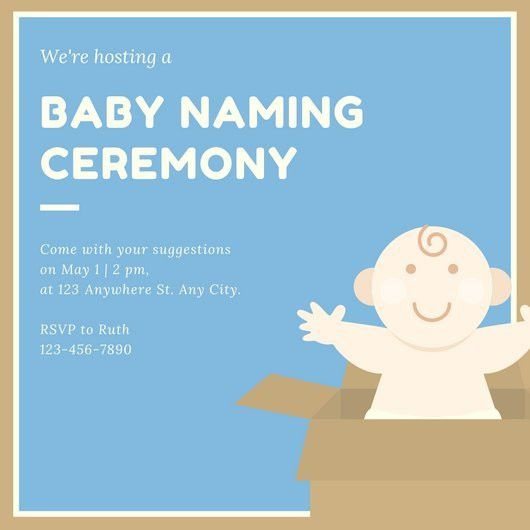 Blue Brown and Cream Baby Naming Ceremony Invitation - Templates ...