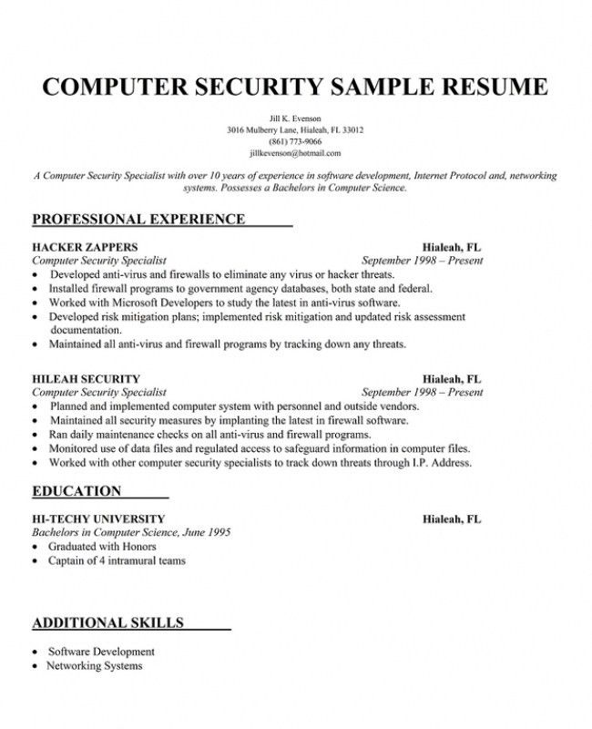 Security Objectives For Resume Criminal Justice Resume Samples - security sample resume
