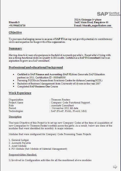 Sap Fico Sample Resume 3 Years Experience #2740