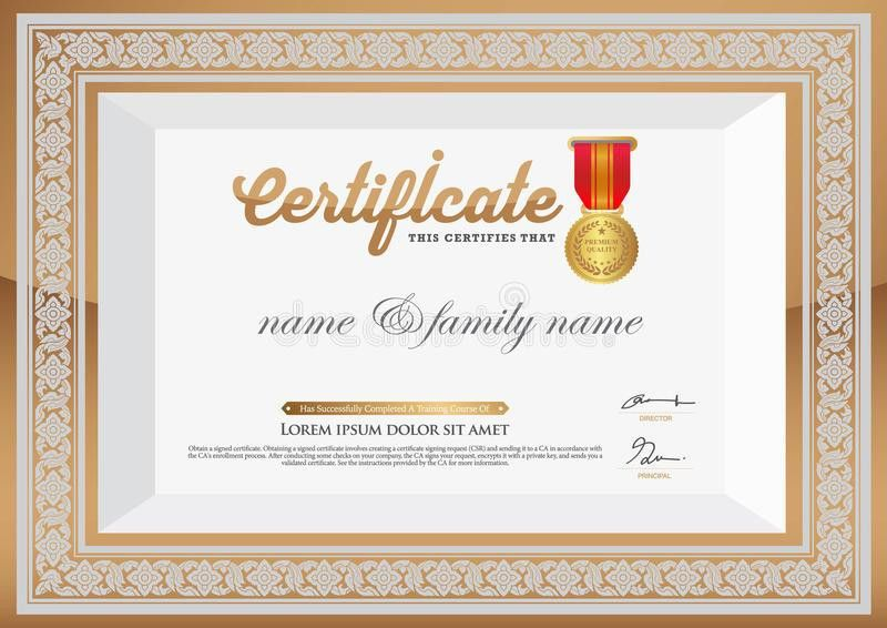 Gold Certificate Of Completion Template. Thai Art Element Stock ...