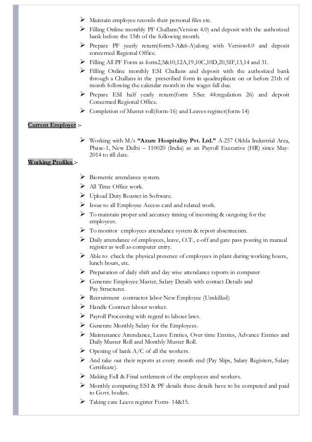 Resume for Hr Executive (Payroll, ESIC, PF)