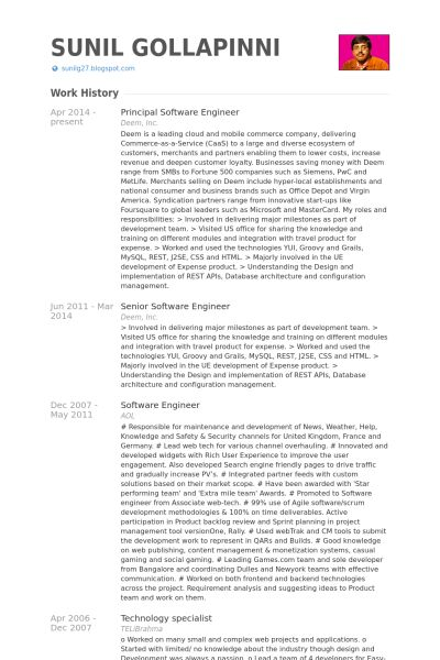 Principal Software Engineer Resume samples - VisualCV resume ...
